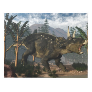 Nedoceratops roaring while running - 3D render Notepad