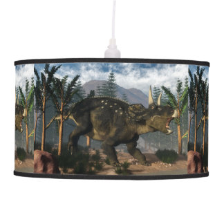 Nedoceratops roaring while running - 3D render Pendant Lamp