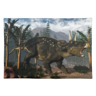 Nedoceratops roaring while running - 3D render Placemat