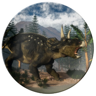 Nedoceratops roaring while running - 3D render Plate