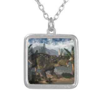 Nedoceratops roaring while running - 3D render Silver Plated Necklace