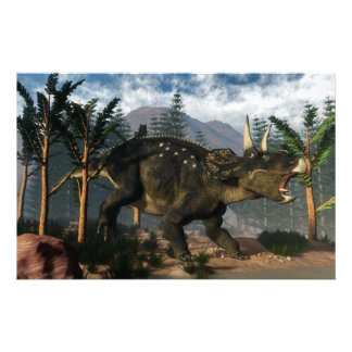 Nedoceratops roaring while running - 3D render Stationery