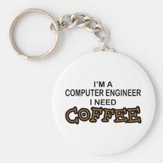 Need Coffee - Computer Engineer Basic Round Button Keychain