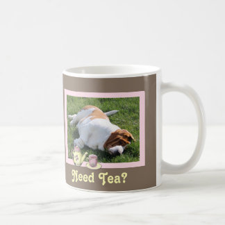 """Need Tea"" Mug w/Cute Basset Hound & ""Tea Cup"""