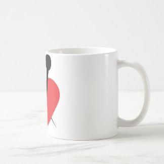 Needle heart coffee mugs