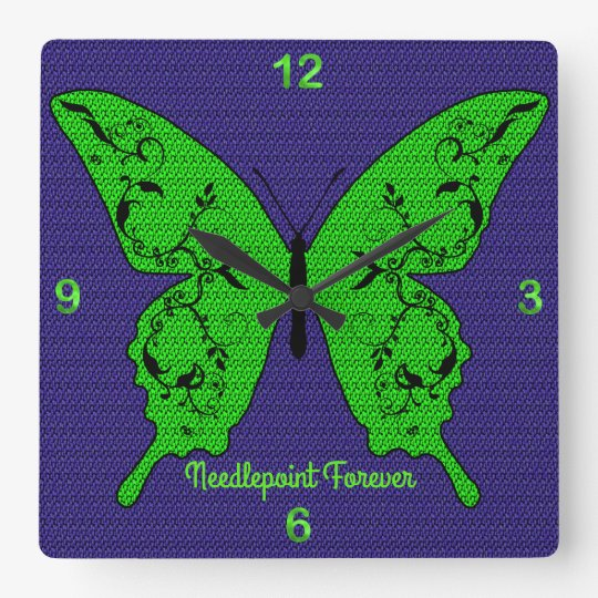 Needlepoint Butterfly in Bright Green & Purple Wall Clock