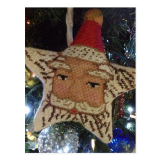 Needlepoint Star Santa Postcard