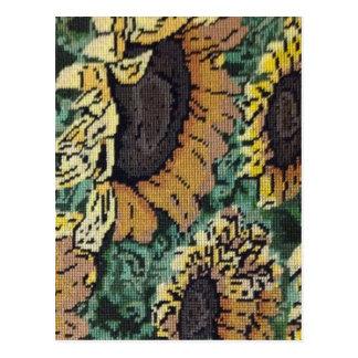 Needlepoint Sunflower Postcard