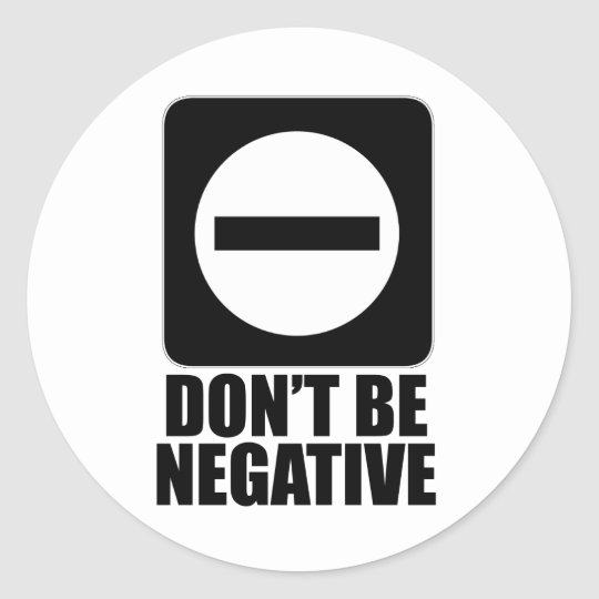 Negative 2 Black Classic Round Sticker