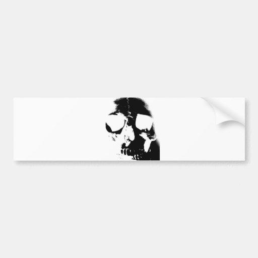 Negative Black & White Skull Bumper Stickers