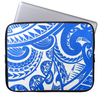 negative / inverted tribal tattoo design on wood laptop sleeve