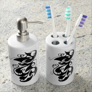 Negative Shadow Swirl Soap Dispenser And Toothbrush Holder