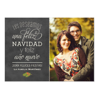 Nègre Pizarra de Feliz Navidad y Año Nuevo Deseos Carton D'invitation 12,7 Cm X 17,78 Cm