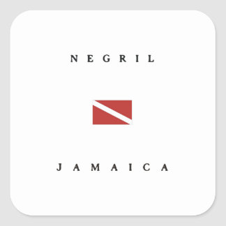 Negril Jamaica Scuba Dive Flag Square Sticker
