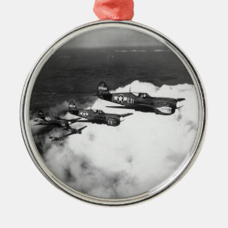 Negro Pilots in Shark-Nosed P-40 Fighter Aircraft Metal Ornament