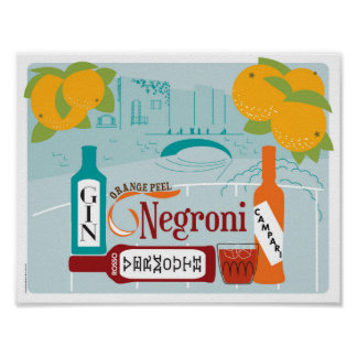 Negroni Citrus Cocktail Poster