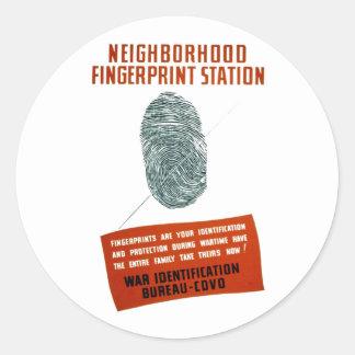 Neigborhood Fingerprint Station Classic Round Sticker