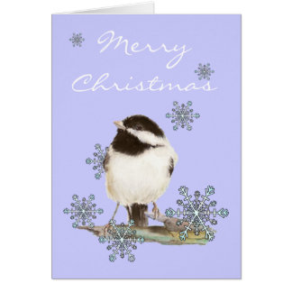 Neige de Noël et oiseau mignon de Chickadee Carte De Vœux