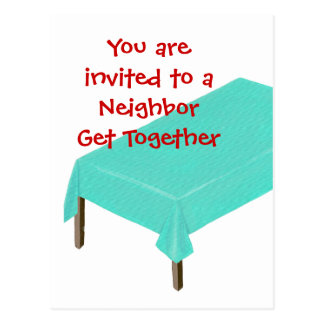 Neighbor Get Together Invitations on postcards