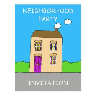 Neighborhood party Invitation. Postcard
