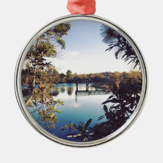 neighborhood pier Silver-Colored round ornament