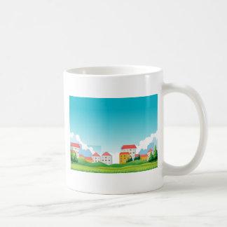 Neighborhood with houses and park coffee mug