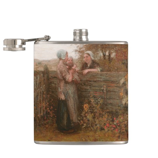 Neighbours Visiting Over the Fence Hip Flask