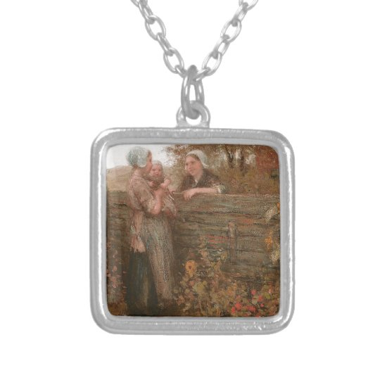 Neighbours Visiting Over the Fence Silver Plated Necklace