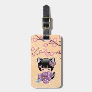 Neko Kokeshi Doll - Cat Ears Geisha Girl Luggage Tag