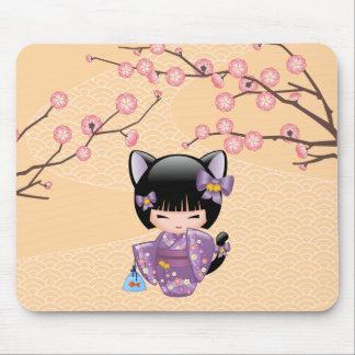 Neko Kokeshi Doll - Cat Ears Geisha Girl Mouse Pad
