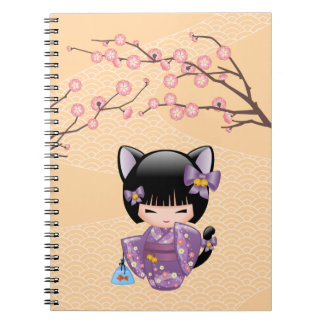 Neko Kokeshi Doll - Cat Ears Geisha Girl Notebook