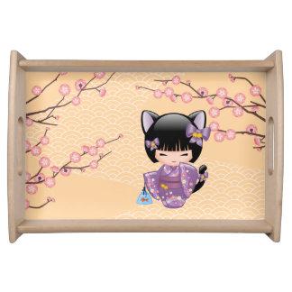Neko Kokeshi Doll - Cat Ears Geisha Girl Serving Tray