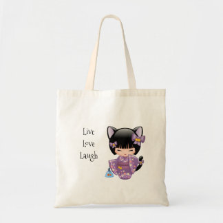 Neko Kokeshi Doll - Cat Ears Geisha Girl Tote Bag