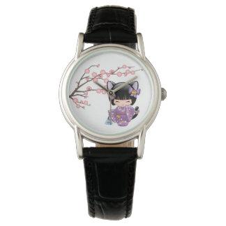 Nekomimi Kokeshi Doll - Cat Ears Geisha Girl Wristwatches