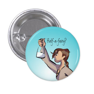 Nellie with flask with words 1 inch round button
