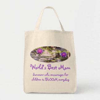 Nénuphars flottant la meilleure maman du monde sac en toile épicerie