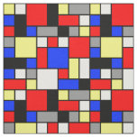 Neo Plasticism Blue Red Yellow White Grey Blocks Fabric