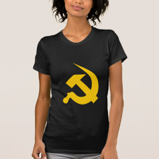 Neo-Thick Bright Yellow Hammer & Sickle on Black Tees