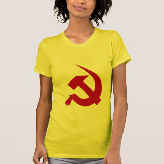 Neo-Thick Dark Red Hammer & Sickle on Yellow Tshirts
