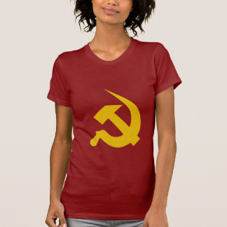 Neo-Thick Dark Yellow Hammer & Sickle on Red Tees