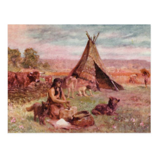 Neolithic Homestead Antique Print Postcard