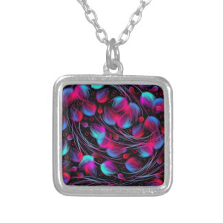 Neon Abstract Hot Pink Turquoise Black Modern Necklaces