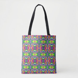 Neon Abstract Tote | Green Pink White | Wild Thing