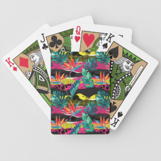 Neon Abstract Tropical Texture Pattern Bicycle Playing Cards