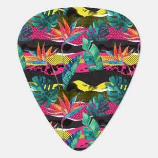 Neon Abstract Tropical Texture Pattern Guitar Pick