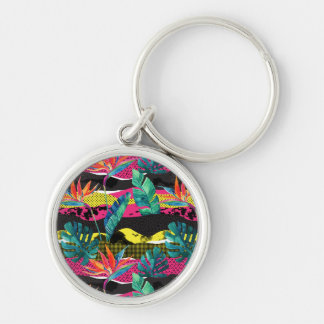 Neon Abstract Tropical Texture Pattern Keychain