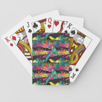 Neon Abstract Tropical Texture Pattern Playing Cards