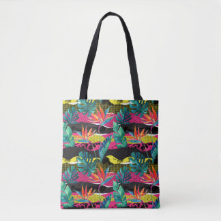 Neon Abstract Tropical Texture Pattern Tote Bag