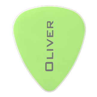 neon acid green guitar pick with guitarist name