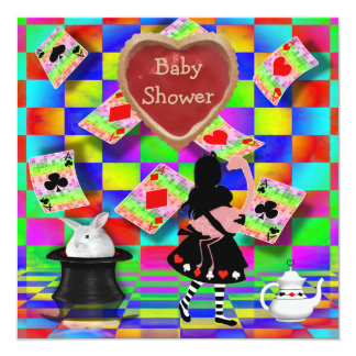 Neon Alice & Flamingo Jam Tart Heart Baby Shower Card